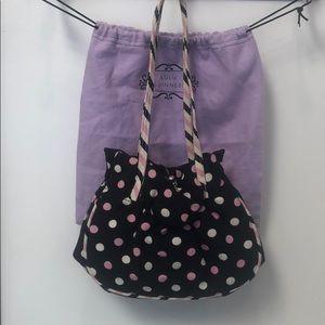 Vintage Lulu Guinness black polkadot purse